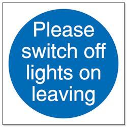 Stewart Superior Please Switch Off Lights Self Adhesive Sign Ref M013SAV - Pack 5