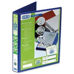 Elba Panorama Presentation Ring Binder PVC 4 D-Ring 25mm Capacity A4 Blue Ref 400008415 - Pack 6