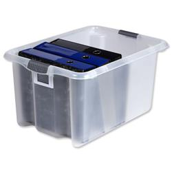 Strata Storemaster Archive Box Minus Lid Plastic Large 51 Litre W410xxD590xH295mm Clear Ref HW316 CLR