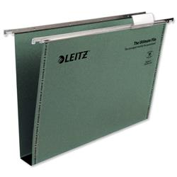 Leitz Ultimate Suspension File Recycled with Tabs Inserts 30mm Foolscap Green Ref 17450055 - Pack 50