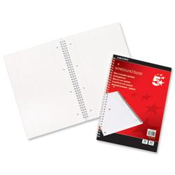 5 Star Office Notebook Wirebound 70gsm Ruled and Margin Perforated 100 Pages A4 [Pack 10]