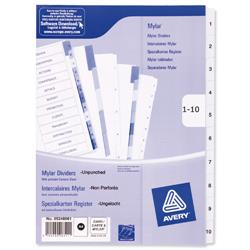 Avery Index Unpunched 1-10 White A4 Ref 05248061 - Pack 10
