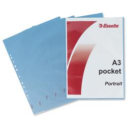 Esselte Pocket Polypropylene Multipunched Reinforced Top-opening A3 Portrait Clear Ref 47181 [Pack 10]