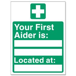 Stewart Superior Your First-Aider Is Located At Self Adhesive Sign Ref SP049SAV