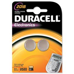 Duracell DL2016 Battery Lithium for Camera Calculator or Pager 3V Ref 75072666 - Pack 2