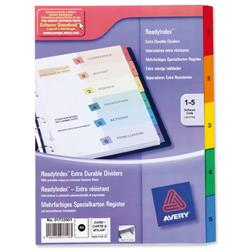 Avery ReadyIndex Dividers with Coloured Contents Sheet Matching Mylar Tabs 1-5 Ref 01734501.UK