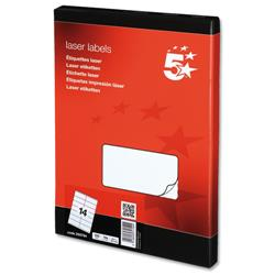 5 Star Office Multipurpose Labels Laser 14 per Sheet 99.1x38.1mm White [1400 Labels]