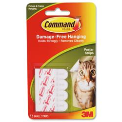 Image of 3M Command Adhesive Poster Strips Clear [Pack 12] - 17024