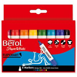 Berol Flipchart Markers Water-based Dry-safe Wedge Nib Assorted Ref FC6W8 - Pack 8