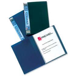 Rexel See and Store Display Book with Full-length Spine Ticket 20 Pockets A4 Blue Ref 10555BU