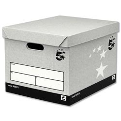 5 Star Facilities Storage Box Self-Assembly Grey [Pack 10]