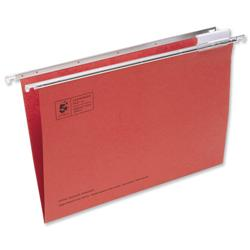 5 Star Office Suspension File Manilla Heavyweight with Tabs and Inserts Foolscap Red [Pack 50]