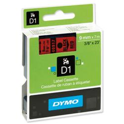 Dymo D1 Tape for Labelmakers 9mmx7m Black on Red - 40917 S0720720.
