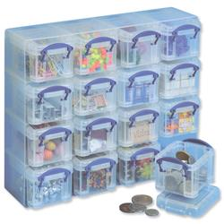 Really Useful Orangiser Set Polypropylene 16x0.14L Boxes and Tray W224xD280xH65mm Clear Ref 0.14x16CORG
