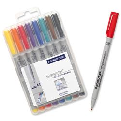 Staedtler 315 Lumocolor Assorted Colour Medium Non-Permanent Universal Pens Ref 315 WP8 - Pack 8