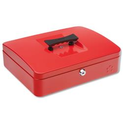 5 Star Facilities Cash Box with 5-compartment Tray Steel Spring Lock 12 Inch W300xD240xH70mm Red