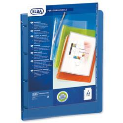 Elba Polyvision Presentation Ring Binder Polypropylene 4 Ring 25mm A4 Blue Ref 100201431 - Pack 12