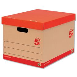 5 Star Office Storage Box for 5 A4 Lever Arch Files Red on Brown [Pack 10]