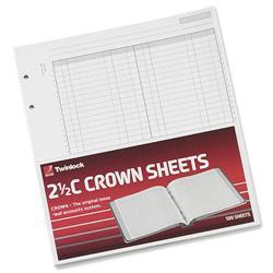 Twinlock 2.5C Crown Double Ledger Sheets Ref 75831 - Pack 100