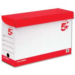 5 Star Office Transfer Case Hinged Lid Foolscap Red and White (Pack 20)