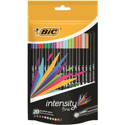 Bic Intensity Fine Writing Felt Pen 20 Assorted Bright Colours Ref 942097 [Pack 20] - 2 for 1