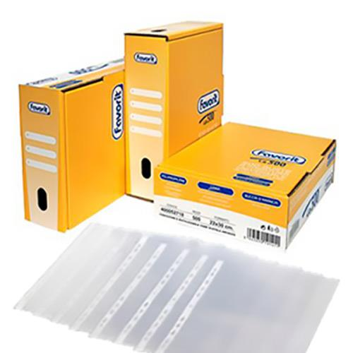 Foto Buste perforate Favorit Linear - medio spessore - goffrate - 22x30 cm Buste a foratura universale