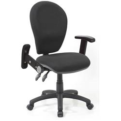 Solar II Black Task Operator Chair Fabric With Folding And Height Adjustable Arms Ref KC0211