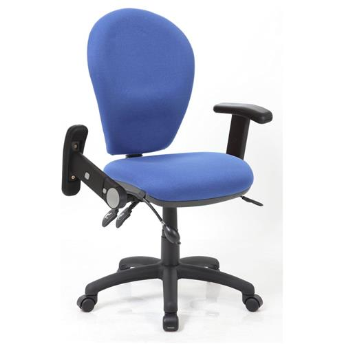 Solar III Posture Chair Fabric With Pump Lumbar Blue Fabric With Folding And