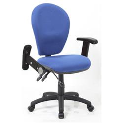 Solar II  Posture Chair Fabric With Pump Lumbar Blue Fabric With Folding And Height Adjustable Arms Ref KC0184