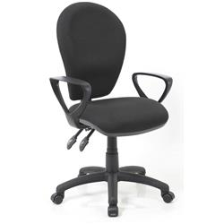 Solar II Black Task Operator Chair Fabric With Loop Arms Ref KC0195