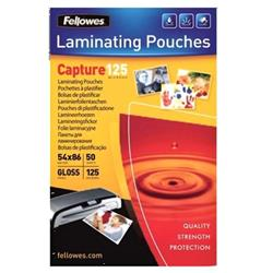 Fellowes Laminating Pouches 125 Micron 54x86mm Ref 5396602