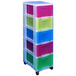 Really Useful Storage Tower Polypropylene 5x12L Drawers W300xD420xH690mm Clear/Assorted Ref DT1-9214