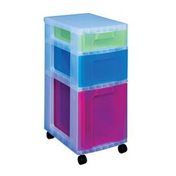 Really Useful Storage Tower Polypropylene 3 Drawers 7L 12L 25L Clear/Assorted Ref DT5667