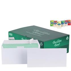 Basildon Bond Envelopes Wallet Peel and Seal 120gsm White [Pack 500] - FREE Tetley Fruit and Herbal Teas Starter Pack