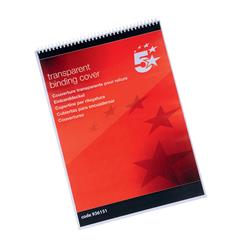 5 Star Office Comb Binding Covers PVC 190 micron A3 Clear [Pack 100]