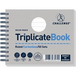 Challenge Triplicate Book Carbonless Wirebound Ruled 50 Sets 105x130mm Ref 100080472 - Pack 5