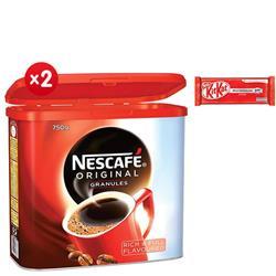 Nescafe Original Instant Coffee Granules Tin 750g - x2 - 4 FREE Packs of Kit-Kats