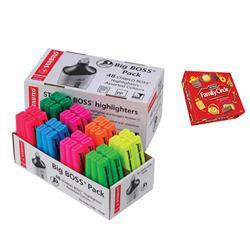 Stabilo Boss Highlighters Chisel Tip Assorted Colours [Pack 48] - FREE Box of Family Circle Biscuits