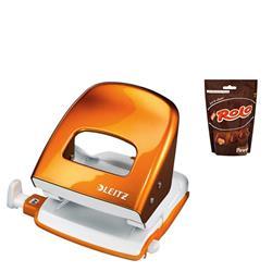 Leitz NeXXt WOW Hole Punch 3mm 30 Sheet Orange Ref 50081044L - FREE Rolos Pouch