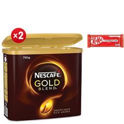 Nescafe Gold Blend Instant Coffee Tin 750g - x2 - 4 FREE Packs of Kit-Kats