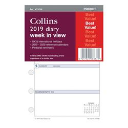Image of Collins 2019 Pocket Organiser Diary Refill Week to View - KT3700-19