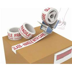 Polyprop Ptd Tape Acrylic Fragile Red On White Low Noise 50mm X 66m Ref FRLNP [Pack 36]