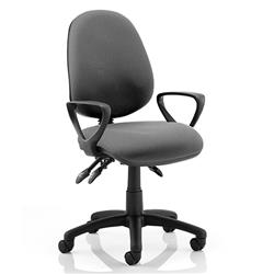 Luna III Lever Task Operator Chair Charcoal Fabric With Loop Arms Ref KC0139