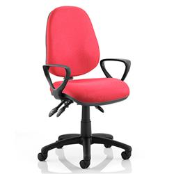 Luna III Lever Task Operator Chair Burgundy Fabric With Loop Arms Ref KC0138