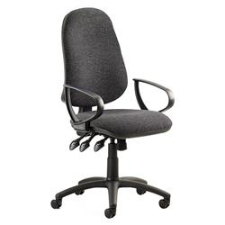 Eclipse XL III Lever Task Operator Chair Charcoal Fabric With Loop Arms Ref KC0034