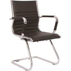 Heiro Cantilever Black Faux Leather Designer Chair With Arms Ref BR000189