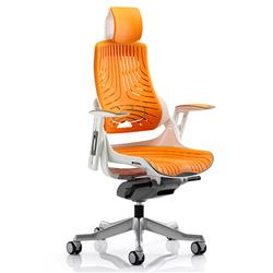 Zure Executive Chair Elastomer Gel Orange With Arms With Headrest Ref KC0165