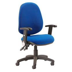 Luna II Lever Task Operator Chair Blue Fabric With Height Adjustable And Folding Arms Ref KC0133