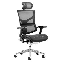 Ergo-Dynamic Posture Chair Black Mesh Black Frame With Arms With Headrest Ref KC0048