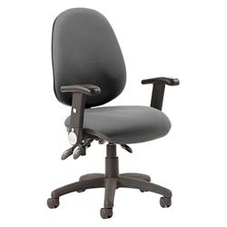 Luna III Lever Task Operator Chair Charcoal Fabric With Height Adjustable And Folding Arms Ref KC0147